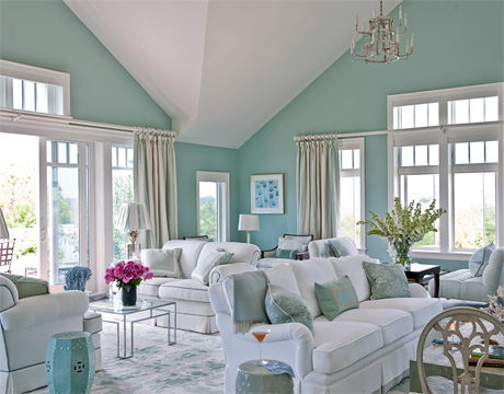 Blue and white beach house interiors Leslie Anne Tarabella