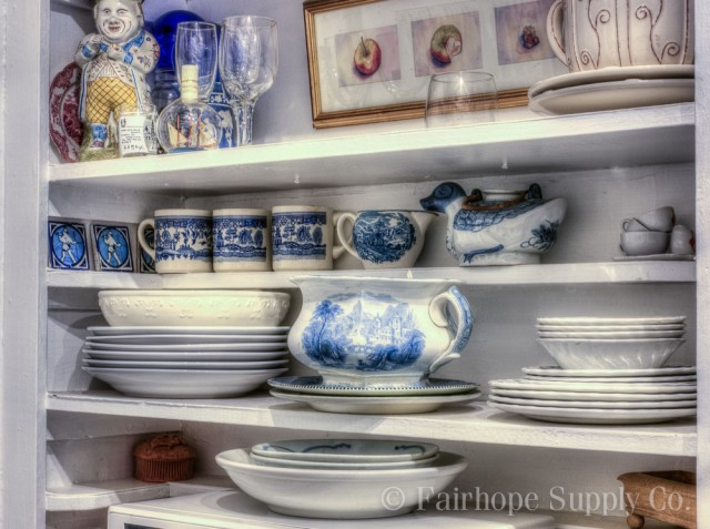 blue and white cottage kitchen accessories, Fairhope Alabama