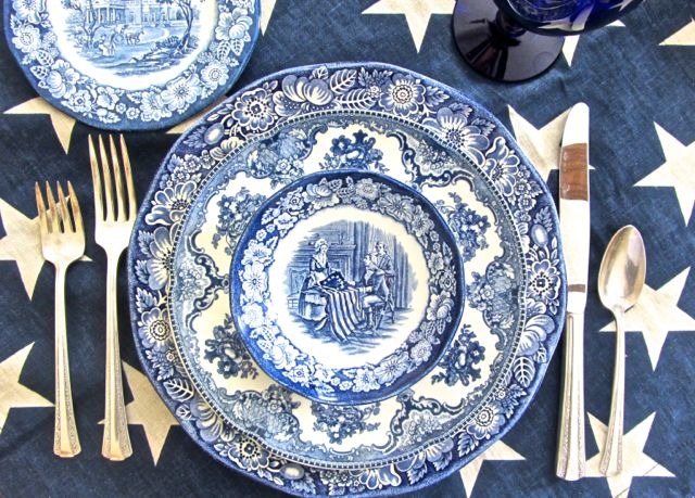 Patriotic Table Setting Liberty Blue Fairhope Supply Co. & Liberty Blue Patriotic Dinnerware
