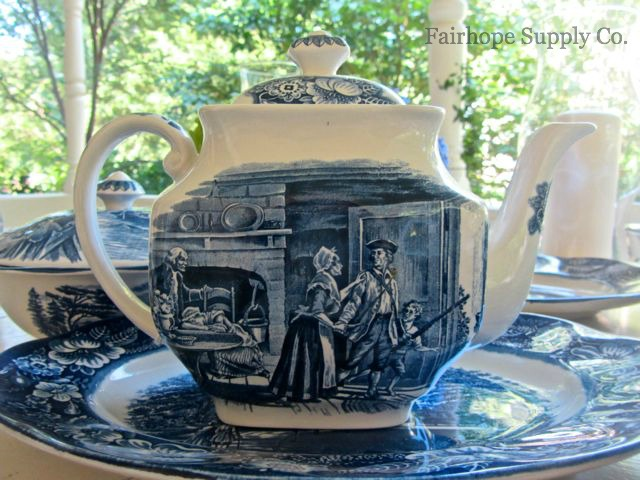 Historical scenes on Liberty Blue teapot, Fairhope AL