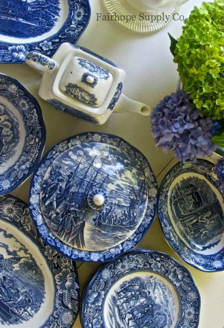 Covered dish, Liberty Blue dishes, Fairhope AL