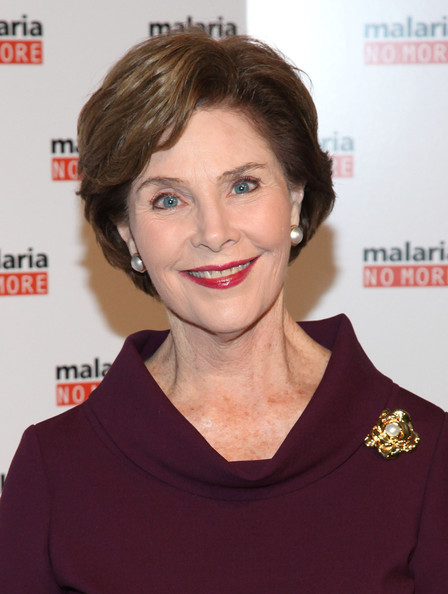 Laura Bush with gold brooch