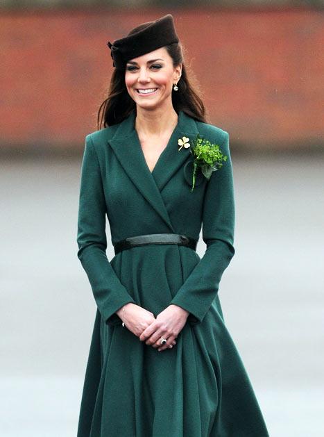 Kate Middleton in green dress and shamrock brooch.