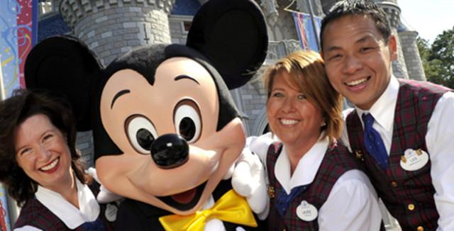 Disney employees wearing nametags.
