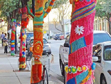 Yarn bombing in Fairhope!