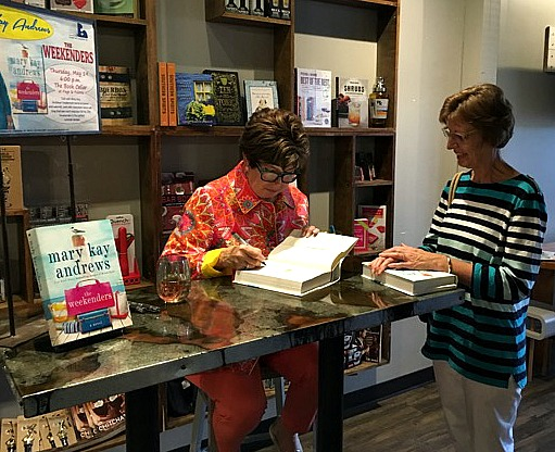 Mary Kay Andrews signing books at Page and Palette Bookstore in Fairhope Alabama - Leslie Anne Tarabella