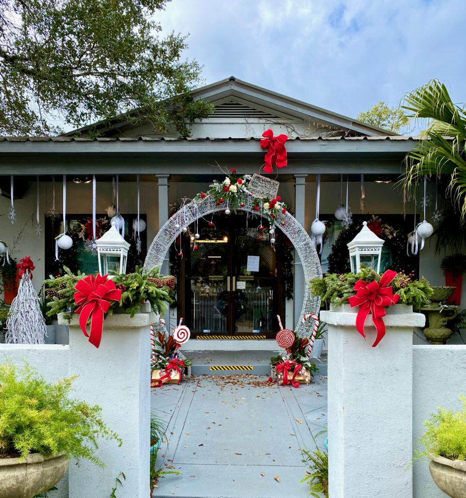 Southern Veranda Florist in Fairhope Alabama, decorated for Christmas.