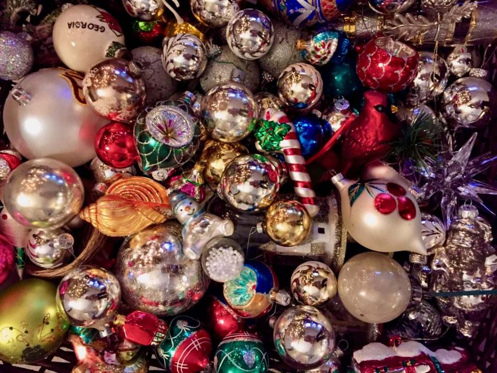 Glittery Christmas ornaments. Photo by leslieannetarabella.com